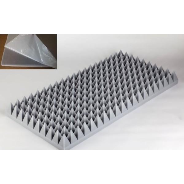 Pyramidenschaumstoff aus Basotect G+ 100cm x 50cm x 3cm,hellgrau,klebend